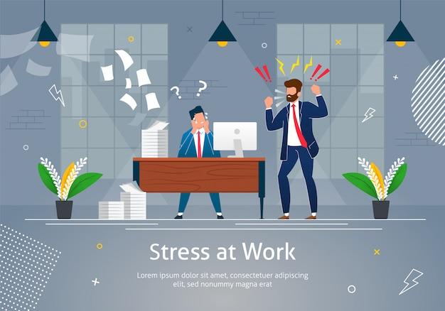 Boss man character screaming on stressed worker. Vettore Premium