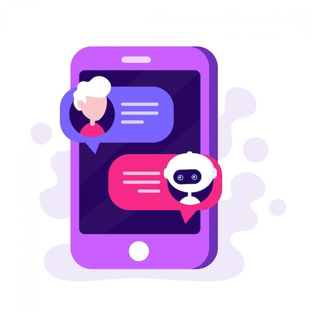 Bot di chat carino in chat con l'uomo su uno smartphone Vettore Premium
