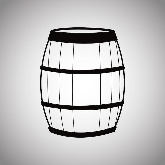 Botte di vino in legno Vettore Premium