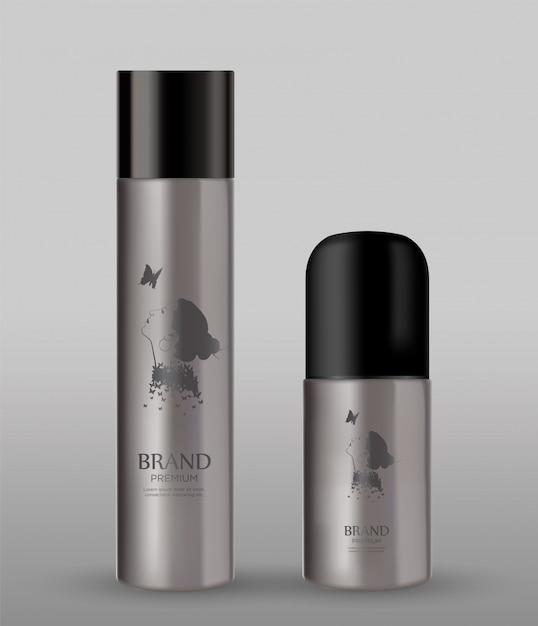 Bottiglia cosmetica del metallo su fondo grigio Vettore Premium