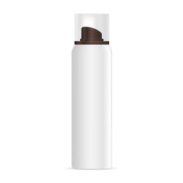 Bottiglia cosmetica per schiuma. stagno in alluminio con cappuccio. Vettore Premium