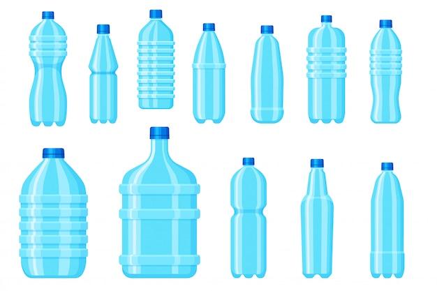 Bottiglia d'acqua in plastica. contenitore per bevande vuoto per acqua minerale e pura. aqua in bianco che imballa sul fondo bianco. icona di bottiglia di plastica per bevande e prodotti liquidi. Vettore Premium