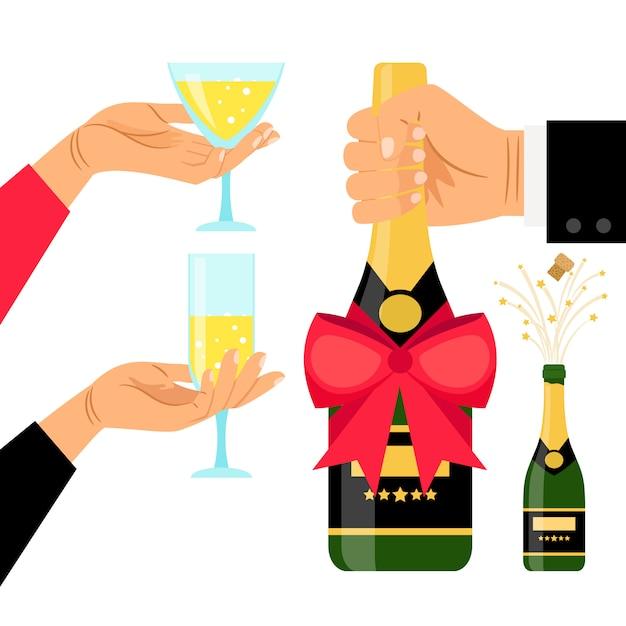 Bottiglia di champagne e bicchieri in mano Vettore Premium