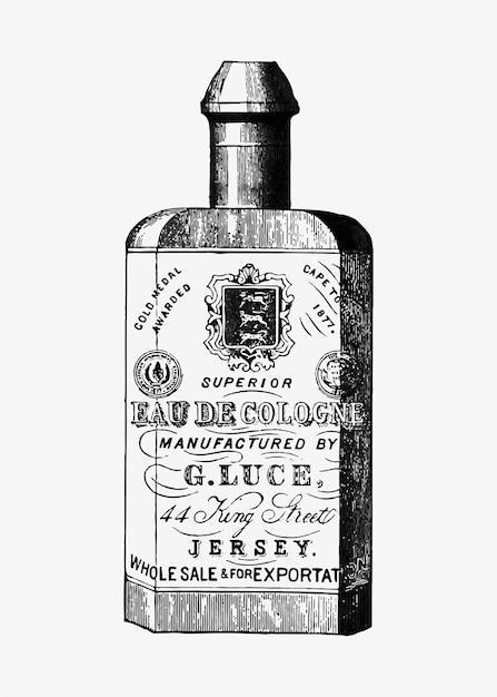 Bottiglia di colonia in stile vintage Vettore gratuito