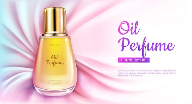 Bottiglia di olio di profumo di olio con liquido giallo su sfondo di tessuto drappeggiato seta rosa. Vettore gratuito