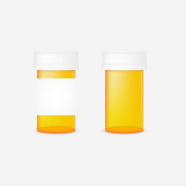 Bottiglia di pillola realistica Vettore Premium