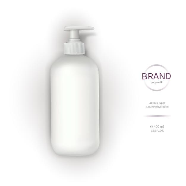 Bottiglia di plastica bianca con dispenser Vettore gratuito