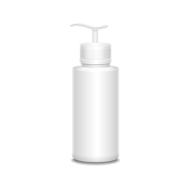 Bottiglia di plastica con un'illustrazione dello spruzzo isolata su bianco Vettore Premium