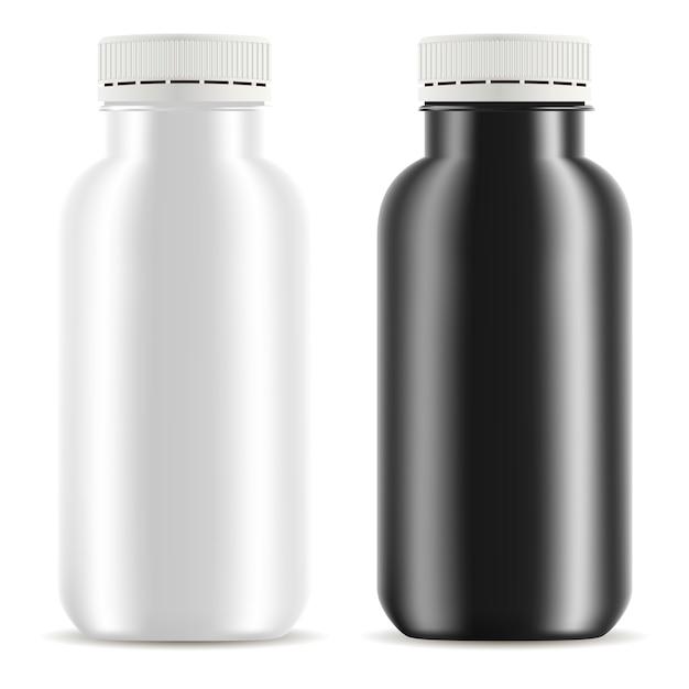Bottiglia di plastica yogurt set. mockup del contenitore alimentare Vettore Premium