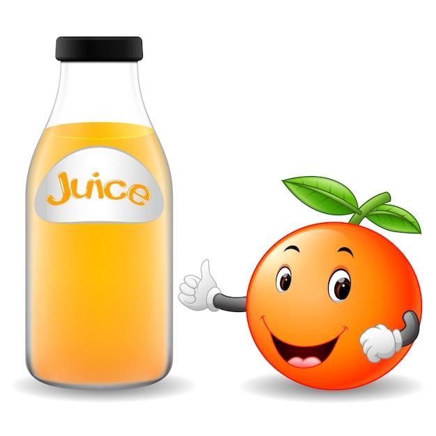 Bottiglia di succo darancia con simpatico cartone animato arancione