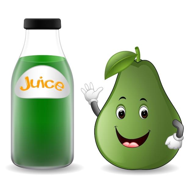 Bottiglia di succo di avocado con cartone animato avocado carino