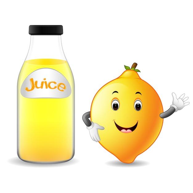 Bottiglia di succo di limone con cartone animato carino limone