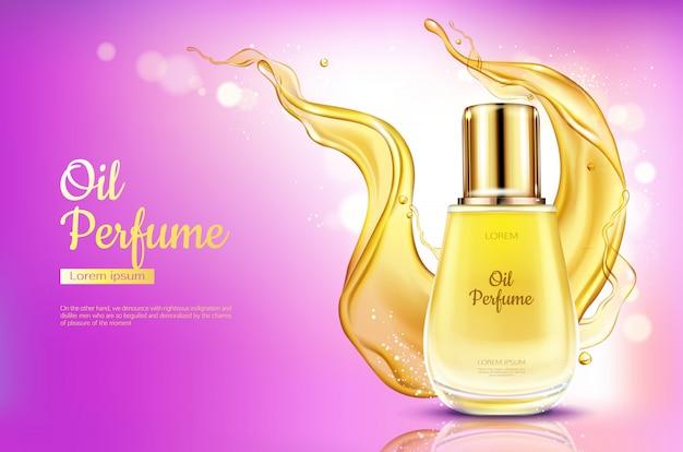 Bottiglia di vetro del profumo dell'olio con spruzzata liquida gialla sul fondo rosa di pendenza. Vettore gratuito