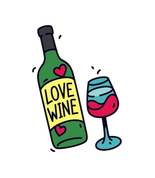Bottiglia di vino e un bicchiere. Vettore Premium