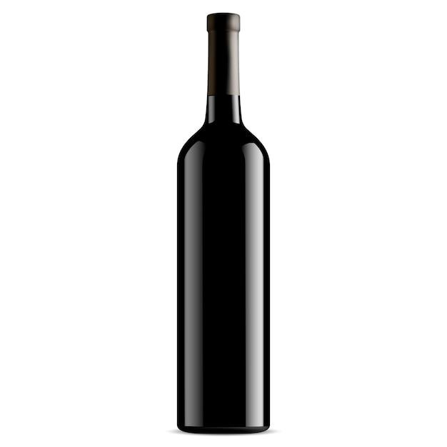 Bottiglia di vino in vetro nero. vettore. senza etichetta Vettore Premium