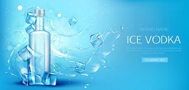 Bottiglia di vodka con banner promozionale con cubetti di ghiaccio Vettore gratuito