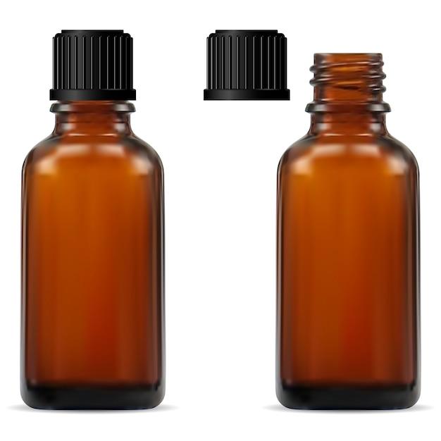 Bottiglia per farmacia in vetro marrone Vettore Premium
