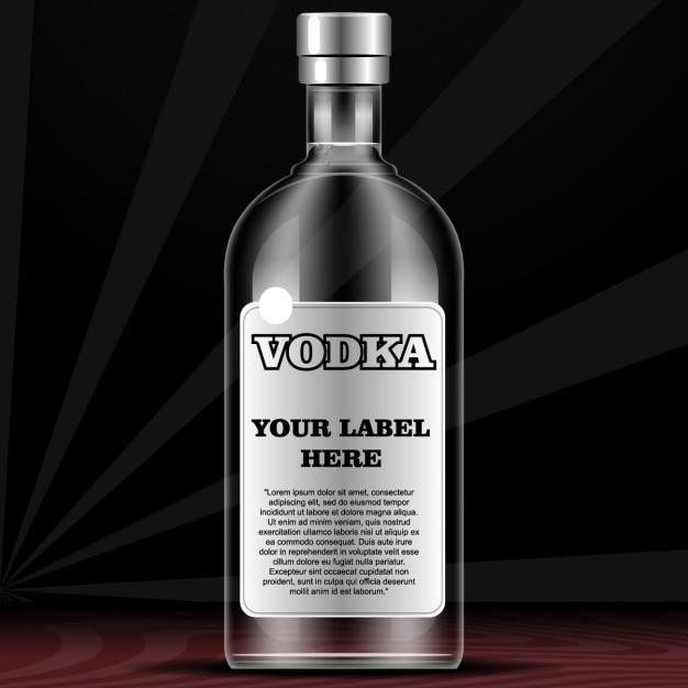Bottiglia per la vodka con etichetta Vettore gratuito