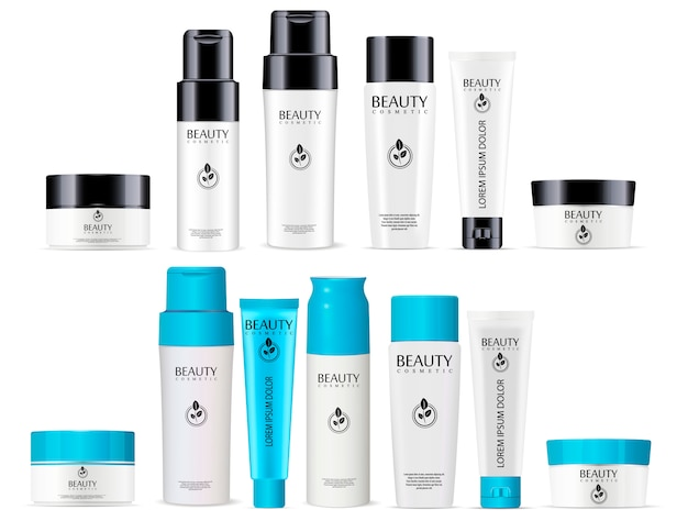 Bottiglia per shampoo, deodorante, tubo per crema, barattolo Vettore Premium
