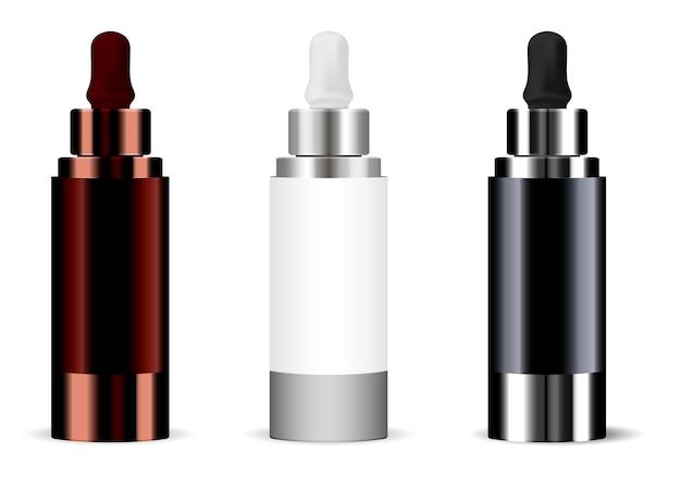 Bottiglia realistico set dropper Vettore Premium