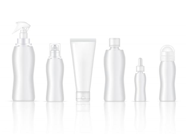 Bottiglia vuota prodotto cosmetico spray per la pelle, deodorante, sapone schiumogeno, siero contagocce, lozione per la pompa e confezione per tubo di pulizia Vettore Premium