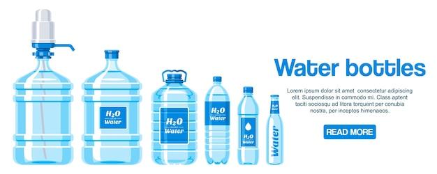 Bottiglie d'acqua fatte di banner di plastica Vettore Premium