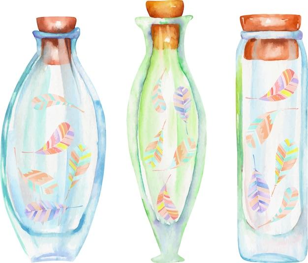 Bottiglie dell'acquerello con piume di boho all'interno Vettore Premium