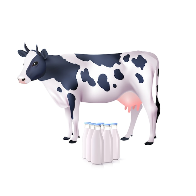 Bottiglie di mucca e latte Vettore gratuito