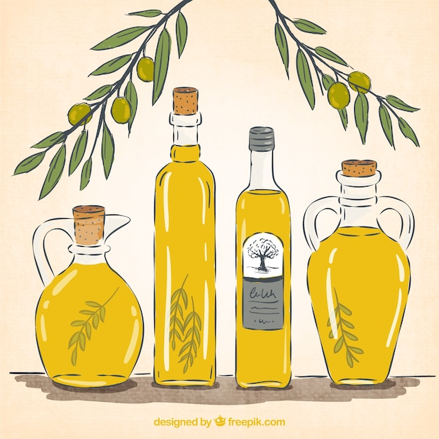 Bottiglie di olio d'oliva Vettore gratuito