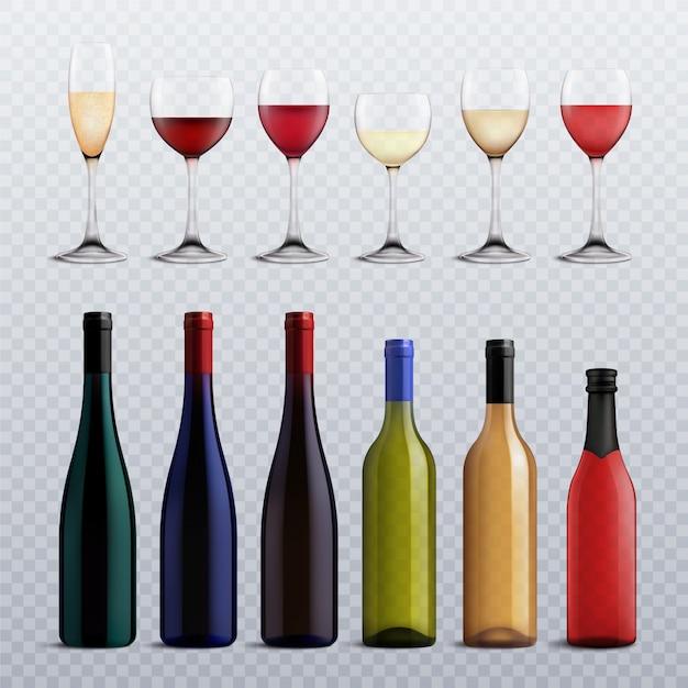 Bottiglie di vino e bicchieri riempiti con diverse varietà di vino su set realistico trasparente Vettore gratuito