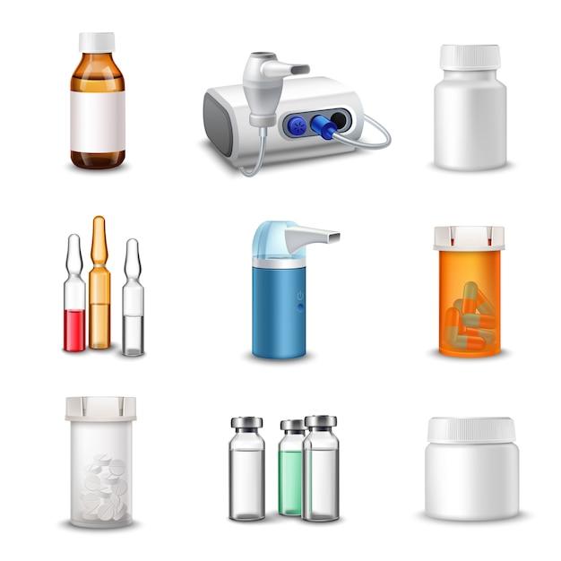 Bottiglie mediche realistiche Vettore gratuito
