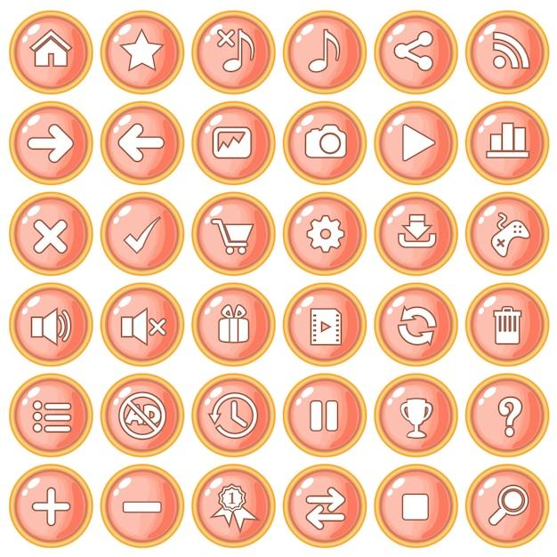 Bottone color arancio pesca bordo oro per giochi in plastica stile. Vettore Premium