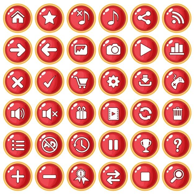 Bottone color oro con bordo rosso per plastica stile gioco. Vettore Premium