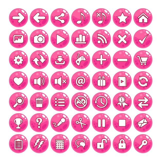 Bottone stile gui color rosa. Vettore Premium