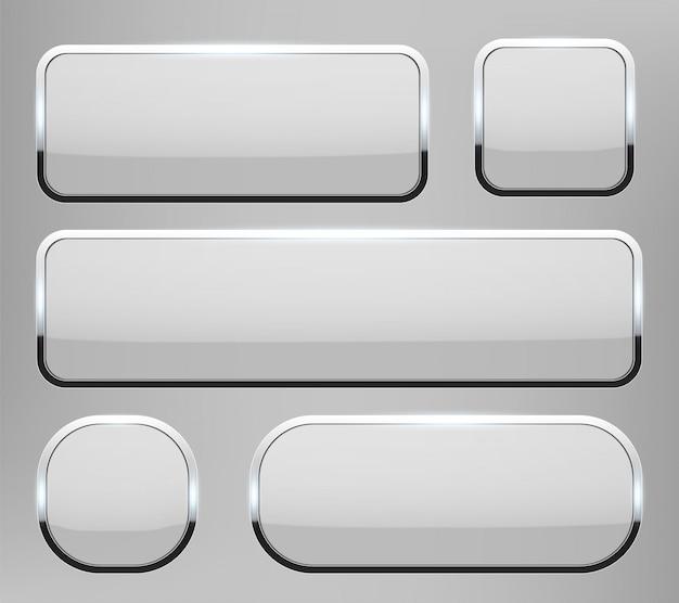Bottoni di vetro 3d con il fondo della struttura del cromo. Vettore Premium