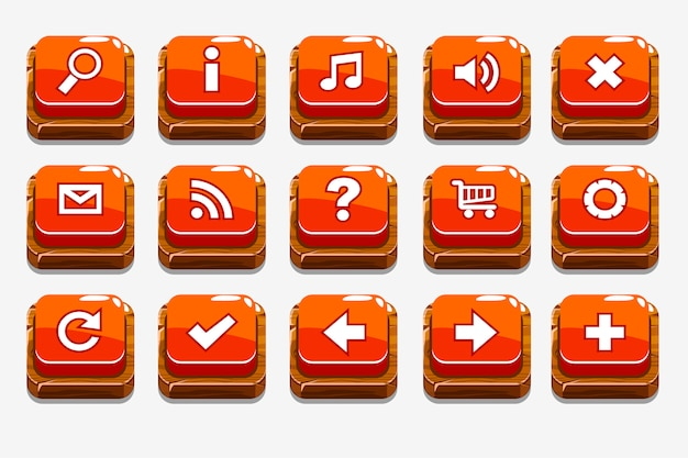 Bottoni in legno rosso con diversi elementi di menu Vettore Premium