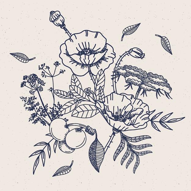 Bouque floreale vintage disegnato a mano realistico Vettore gratuito