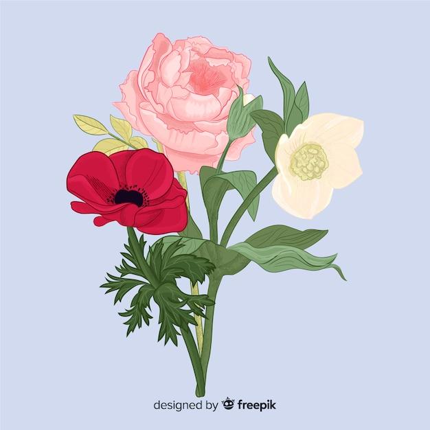 Bouquet di fiori botanici vintage Vettore gratuito