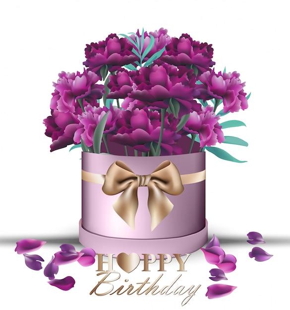 Bouquet Di Fiori Di Peonia Di Buon Compleanno Scaricare Vettori