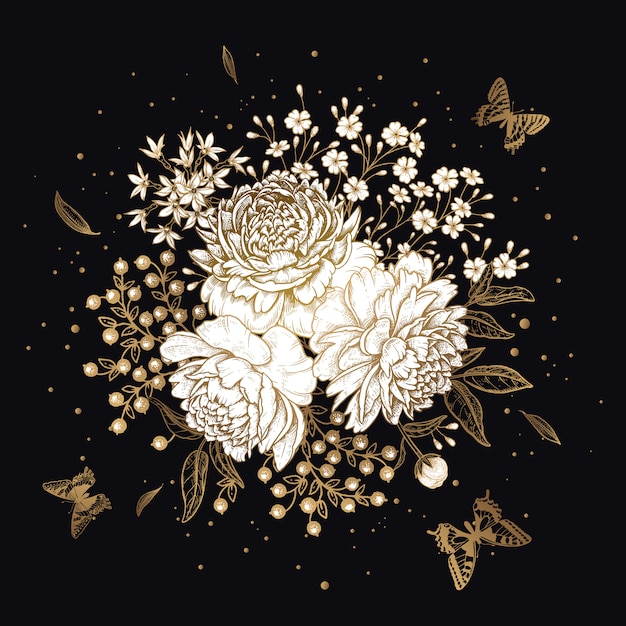 Bouquet di fiori peonie e farfalle. oro su sfondo nero. Vettore Premium
