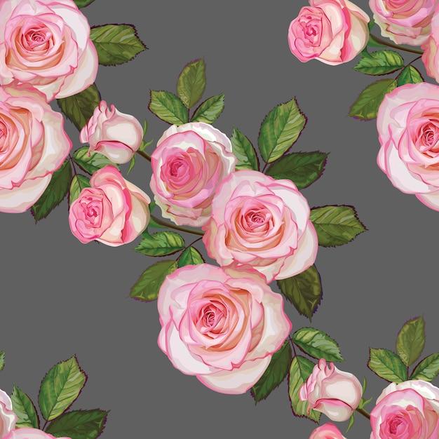 Bouquet di rose di colore bianco e rosa Vettore Premium