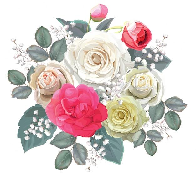 Bouquet floreale con illustrator rosa vettoriale Vettore Premium