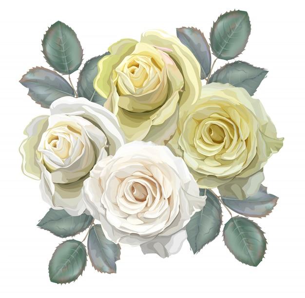 Bouquet floreale con rose bianche e gialle Vettore Premium