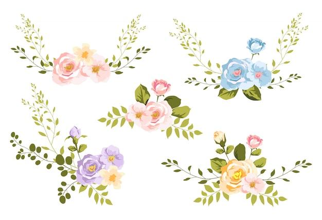 Bouquet floreale dell'acquerello per la decorazione Vettore Premium