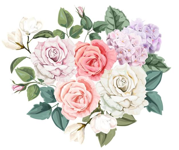 Bouquet floreale rosa Vettore Premium