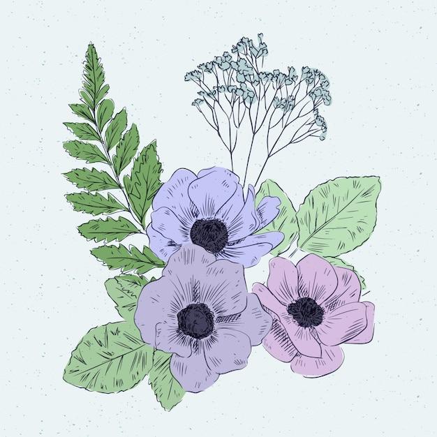 Bouquet floreale vintage colorato Vettore gratuito
