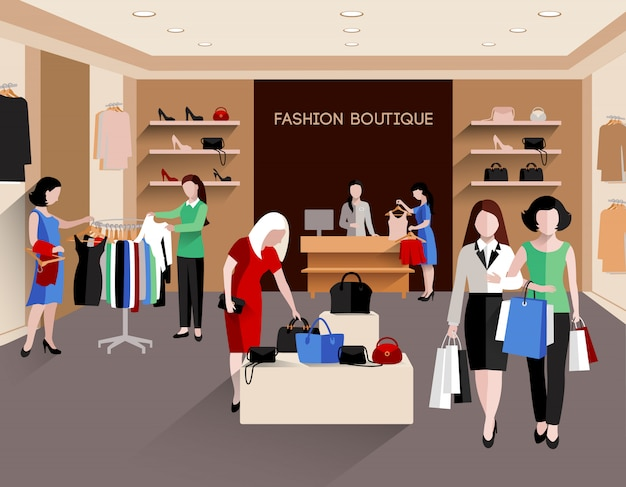 Boutique di moda con consumatori di giovani donne e abbigliamento di moda piatto Vettore gratuito
