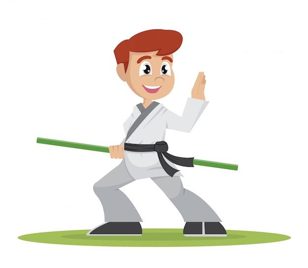 Boy kung fu player. Vettore Premium