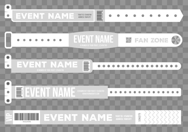 Braccialetti per l'ingresso all'evento. Vettore Premium