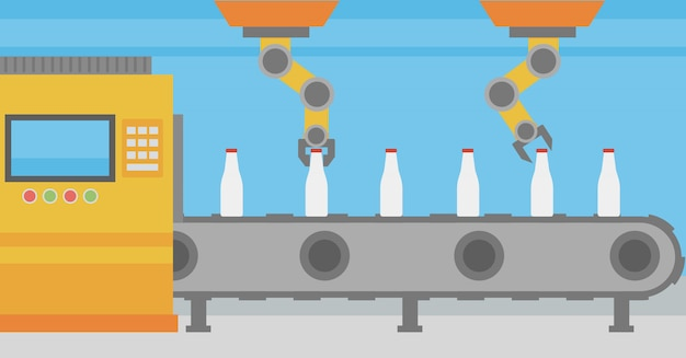 Braccio robotico che lavora su nastro trasportatore con bottiglie. Vettore Premium